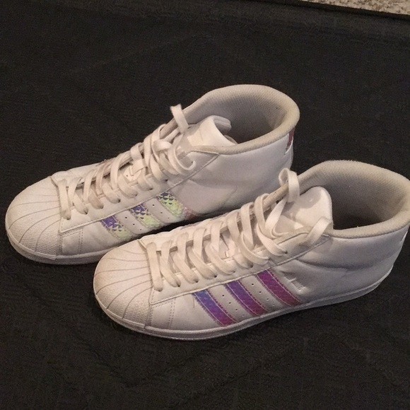best website 9e020 598a2 adidas Shoes - Adidas Superstar J Hi Top Pro Model 3D Holo Sz 6.5